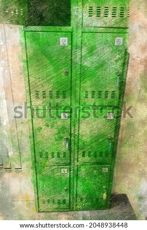 Individual metal lockers with keys for storing personal items. Green vertical metal locker with doors in a store, warehouse or public place. Digital watercolor painting