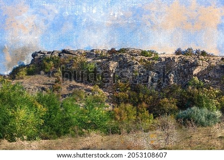 A mountain peak against a blue sky. Rocks with green trees and bushes. Landscape. Digital watercolor painting.