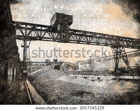 Gantry crane. Industrial. Grab crane will perform cargo operations in the warehouse of building materials.  Digital watercolor painting. Modern Art