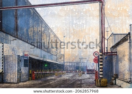 Protected industrial area. Entrance with a barrier to the territory of a modern warehouse or factory. Industry. Digital watercolor painting