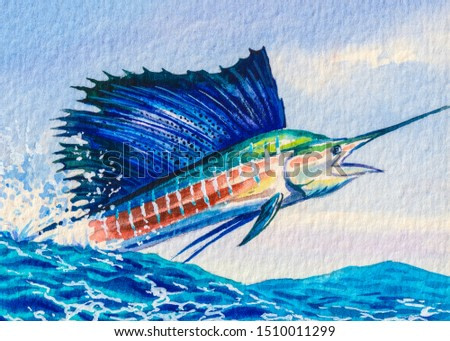 Sailfish jumping. Ocean fishing. The biggest and fast fish in the world