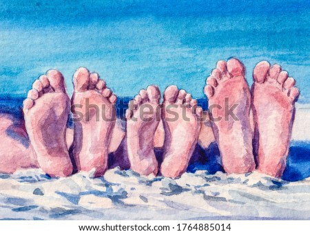 Summer vacation. Family feet. Relaxation on the ocean beach. Watercolor Painting