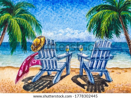 Chair lounges on the beach shore. Tropical nature with palm trees. Florida summer vacations. Watercolor painting.