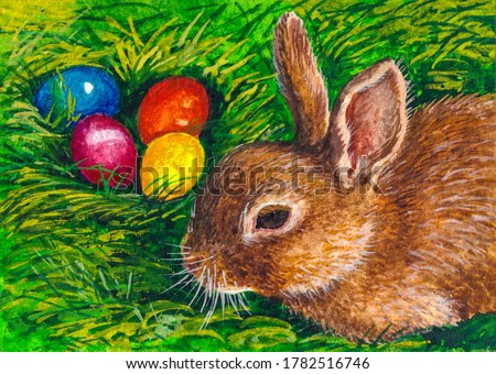 Easter bunny. Happy Easter. Colored eggs. Little rabbit. Watercolor painting.