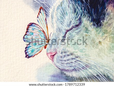 Cat and butterfly on nose. Cute kitten sleeping with insect. Home pet. Watercolor painting.