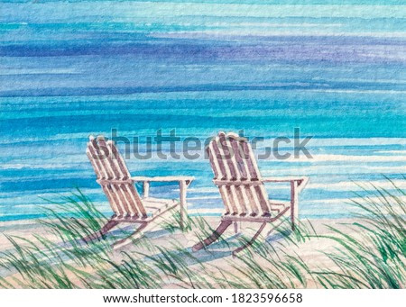 Beach Chair on the shore. Summer vacations on ocean. Watercolor painting.