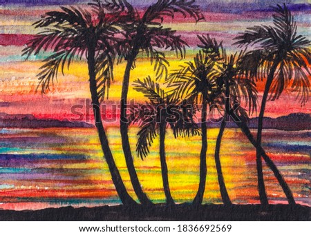 Silhouette palm tree. Colorful ocean sunset. Beach Shore. Tropical nature. Watercolor painting.