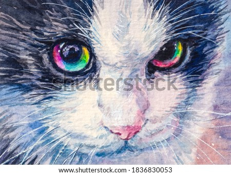 Cat with rainbow eyes. Cute fluffy kitten. Home pet. Watercolor painting.