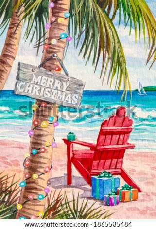 Christmas palm Tree on the beach. Red wooden chair lounge with presents or gift boxes at the ocean coast. Merry Christmas and Happy New Year. Winter Holidays or Vacations. Watercolor painting