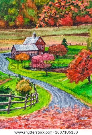 Autumn landscape. Beautiful country nature. Farm, house, barn. Fall forest. Watercolor painting.