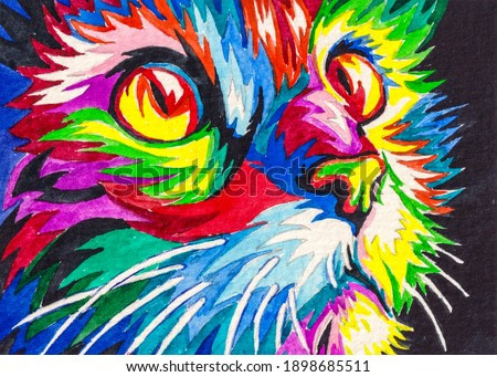 Abstract cat portrait. Cute colored kitten. Watercolor painting. Acrylic drawing art.