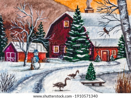 Farm barn. Red country house. Snowy Winter forest. Snowman and farm animals. Watercolor painting. Acrylic drawing art.