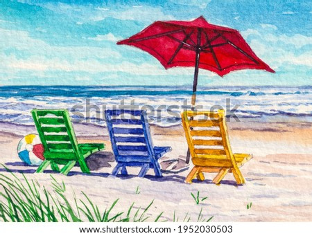 Beach Chair and umbrella. Ocean shore. Spring break or Summer vacations. Beautiful seascape. Watercolor painting. Acrylic drawing art. Hand painted A piece of art.