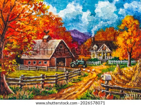 Autumn country landscape. Agriculture Farm barn and farmhouse. Red Tree leaves. Thanksgiving day. Fall season. Watercolor painting. Acrylic drawing art. A piece of art.