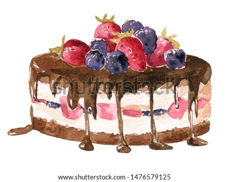 Watercolor illustration chocolate cake with berries,  on a white background