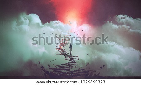young woman standing on broken stairs leading up to sky, digital art style, illustration painting