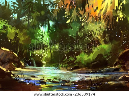 digital painting of beautiful river with cascades in forest,illustration