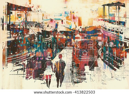 couple walking on harbor pier with colorful boats,illustration painting