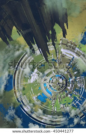 aerial view of futuristic city and spacecraft in the foreground,alien planet,illustration painting
