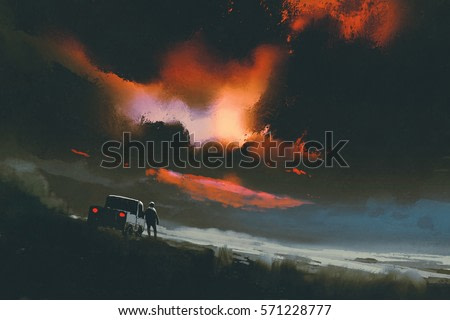 man standing by his truck looking at red light in the night sky,illustration painting