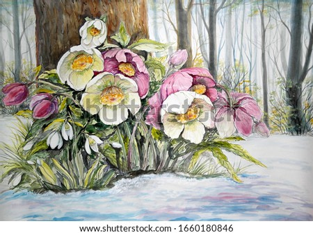 Watercolor paintings landscape, spring. Flowers in forest. Fine art.