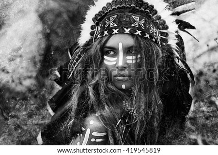 Attractive young woman in chieftain. Black and white portrait. Indian style