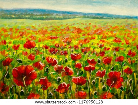 poppy field and mountains - modern impressionism oil painting on canvas