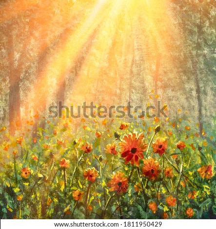 flower field in forest under the morning sunlight oil painting on canvas beautiful flowers