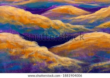 oil painting watercolor Beautiful waves of the sea or mountains of the desert hills