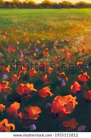 Flowers field red poppies paintings monet painting claude impressionism paint landscape wildflower flower meadow oil