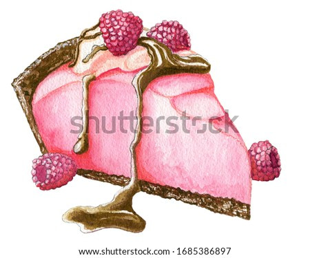 Hand painted watercolor raspberry pink cake with cream and chocolate isolated on the white background
