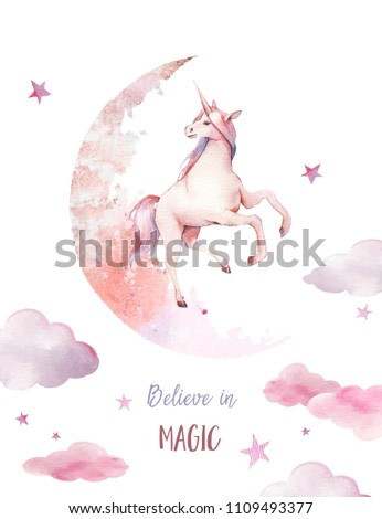 Believe in magic. Watercolor unicorn poster. Hand painted fairytale illustration with fantasy animal, moon, clouds, stars on white background. Cartoon baby art