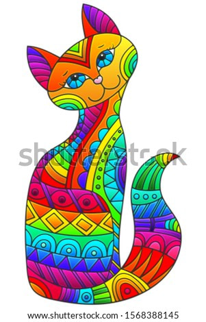 Set of stained glass elements with rainbow cat , isolated image on white background