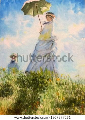 """""""Madame Monet and her son"""", a female holding a parasol stands on top of a hill with a little boy. Blue sky, sunny day. Watercolor technique. No signature in the painting. Hand-painted by Applepy."""