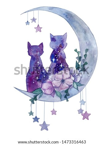 watercolor space cats on the moon with flowers