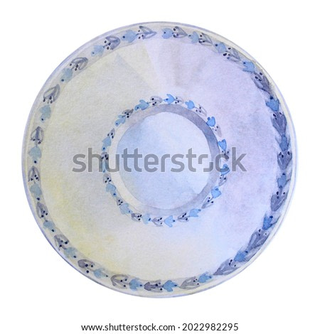 Watercolor blue plate with ornate from above top view. Hand-drawn porcelain utensils isolated on white background. Clip art for menu, cookbook, kitchen, cafe, sticker, wallpaper, celebration, wrapping