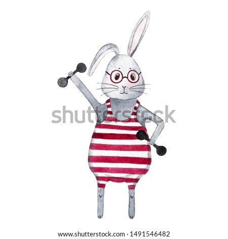 watercolor rabbit  sports hare сute bunny heavy weight healthy lifestyle striped leotard smart animal red glasses morning work-out sport