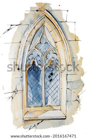 Watercolor hand painted castle isolated on white. Medieval architecture illustration. Fairytale design.