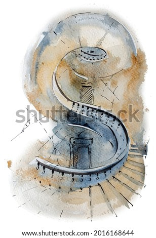 Watercolor hand painted castle stairs isolated on white. Medieval architecture illustration. Fairytale design.