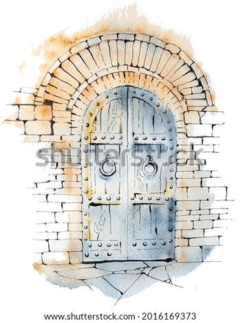 Watercolor hand painted castle doors isolated on white. Medieval architecture illustration. Fairytale design.
