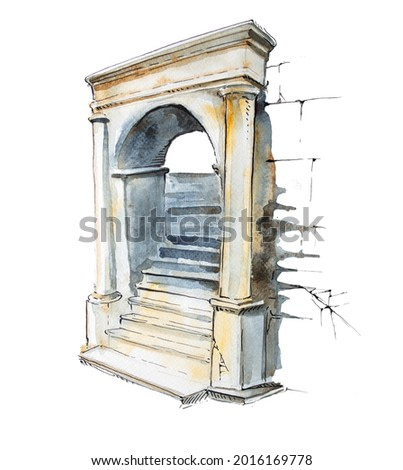 Watercolor hand painted castle arch isolated on white. Medieval architecture illustration. Fairytale design.