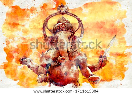 watercolor of of load Ganesha with oil paint texture on canvas.
