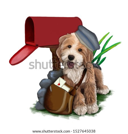 Postman dog near the mailbox with bag full of love letters. Watercolor painting