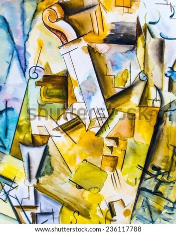 Abstract Cello Painting