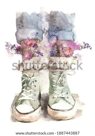 watercolor drawing on a white background close-up of legs in jeans and pastel sneakers from white socks with guipure flowers of pink and lilac shades in hippie style