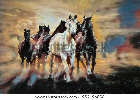 painting . Artistic drawing of a herd of Arabian horses
