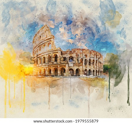 Watercolor painting Flavian Flavium Amphitheater or Colossus Rome, Italy