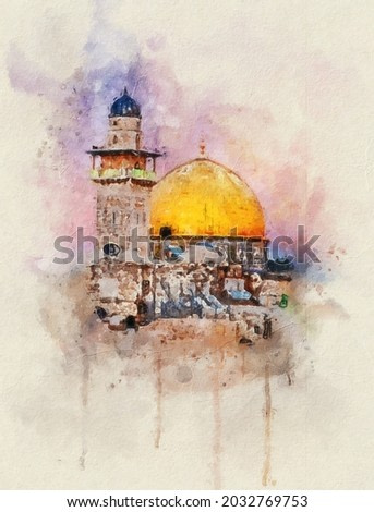 Watercolor painting. Al-Aqsa Mosque Dome of the Rock in the Old City - Jerusalem, Israel