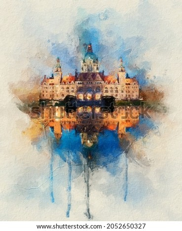 painting . Magnificent panorama of the Rathaus in Hannover, Germany