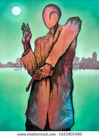 Cubist surrealism figure  painting modern abstract design